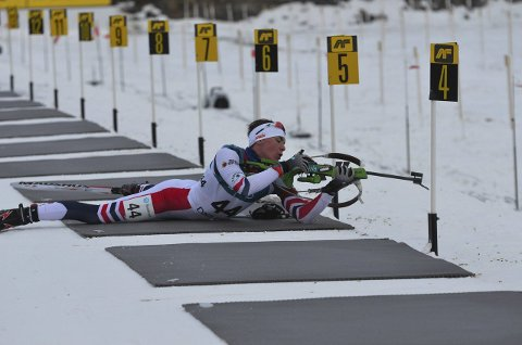 TRE BOM: Iver Gjestvang Olimb fra SÅS pådro seg to minutter og 15 sekunder i tillegg etter tre bom på første skyting. Feilfri skyting ville gitt medalje.