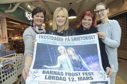Frost-feber: Arbeidsgruppa for Smietorget gleder seg til å få besøk av Snødronningen og Isprinsessen til helga. Fra venstre senterleder Kari Morka, Elisabeth Dybdal, Line Marie Bredgaten og Inger-Lise Moen.