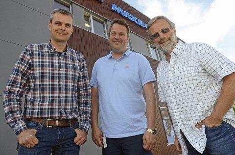 Norconsult etablerer seg med kontor i Almenningstråkket. Fra venstre Gudbrand Helmen, nyansatt vegplanlegger Jon Kvisberg og allmenningsbestyrer Knut Narvestad.