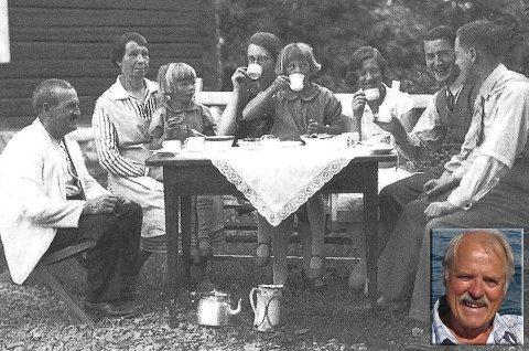 FAMILIEN: Utenfor Horn-gården i 1930. Fra venstre sitter forfatterens farfar Martinius, farmor Gina, kusine Laila, mor Ester, kusine Erna, tante Alfhild, onkel Nils og far Kristian.