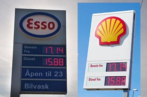17,14 for en liter bensin. 15,88 for en liter diesel. Noen dyrere?