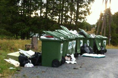 SØPPEL: Slik så søppelkassene ut på Mylla søndag.