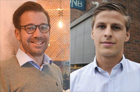FLERE PÅ NETT: Terje Heggen hos Eiendomsmegler 1 Hadeland og Simen Lokrheim hos DNB eiendom forteller at flere nøyer seg med informasjonen de finner om boliger på nett.