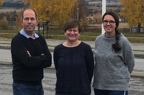 Den nye ledelsen: Jon-Inge Hagebakken, Helene Harsvik Skeibrok og Karianne Sten Solheim er foreslått til å utgjøre ledelsen i nye Fagforbundet Innlandet.