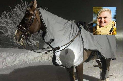 HEST MED REFLEKS: Det gikk bra med både hest og rytter Hege Blisten Nylén, begge var også godt synlige i mørket.