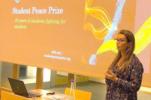 TALE: Ingeborg Albert Rikheim holdt tale foran drøyt 1000 personer under årets prisutdeling i Trondheim.