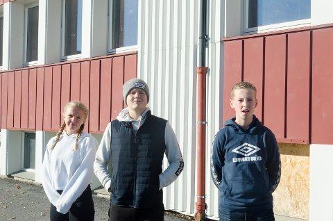 """TRENGER VEDLIKEHOLD: Det er særlig i """"nordfløyen,"""" den delen som strekker seg mot skateanlegget og ballbingen det er størst behov for å pusse opp, synes elevene Ingrid Stubberud (13), Eilert Norstrøm (14) og Sander Roos (13)."""