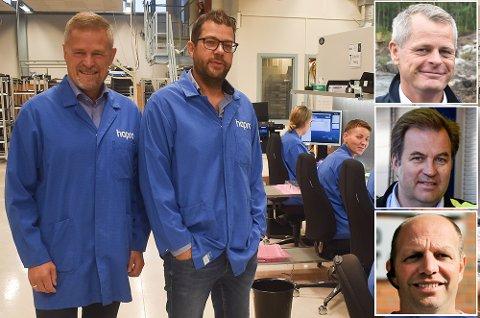 De største: Tor Asak Giæver (til venstre) leder både Hapro og Hapro Electronics, her sammen med Jens A. Martinsen i produksjonen. Til høyre: Peter Sønderskov (Trox Auranor), Kjetil Toverud (Andritz Hydro) og Ola Gunnar Kjos (Hadeland Maskindrift).