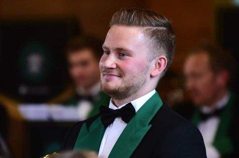 NÅDD DRØMMEN: Eivind Straume er ny solotrombone i brassbandet Manger musikklag.
