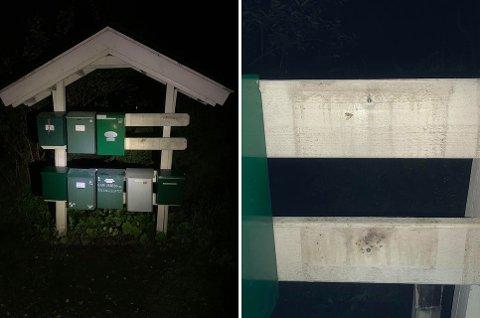 Stjålet: To postkasser mangler på stativet.