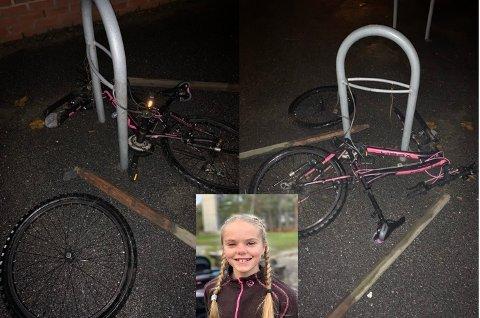 HÆRVERK: Dette møtte Rikke Mari Hjørnegård Engh (12) da hun skulle hente sykkelen sin på Tistedal skole tidligere denne uka.