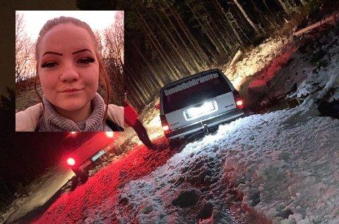 Alexsandra Nilsen (innfelt) satt i bilen som ble sittende fast i grøfta