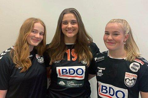 FORLATER HALDEN: Sara Lauritzen (tv), Synnøve Edvardsen og Marthe Johannessen har alle meldt overgang til Fredrikstad BK.