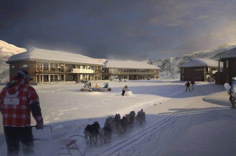Eidfjord Resort har som kjend store planar i Sysendalen. Reguleringa for heilårsdestinasjonen er godkjend, og når alle andre løyve er på plass, kan bygginga ta til. Illustrasjon: Eidfjord Resort