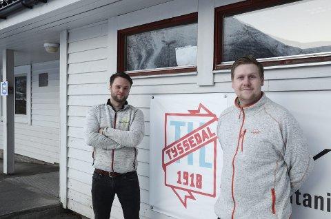 Tyssedaltrenarar: Thomas Skjold Olsen og Roif Rene Litsheim vart inspirert av FK Haugesund sitt samarbeid med mindre klubbar i regionen. No inviterer dei IL Harding til felles trening.Arkivfoto