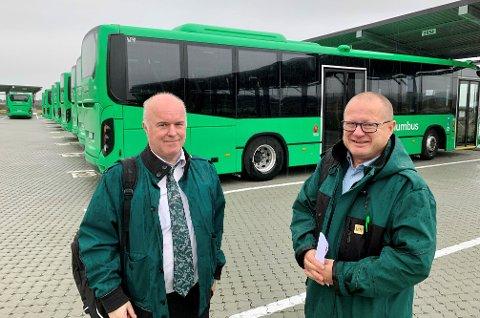 STREIK: Odd Sigurd Korsnes er tillitsvalgt for bussjåførene i Yrkestrafikkforbundet lokalt. Bjørn Flemmen er tillitsvalgt for sjåfører tilknyttet Fellesforbundet. De gjør seg klar for streik på lørdag.