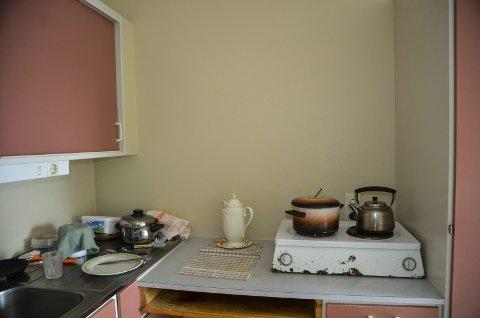 Ei kokeplate: Kjøkkenet til Petter Tverå er fra 70-tallet. Her er det ingen ventilasjon eller avsug. Nå våger han knapt steike noe fordi alarmen går av ved den minste steikos. Alle foto: Toril Risholm