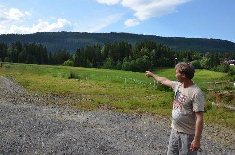 Harald Millingsjord peker på området hvor kviga hans ble funnet. Bjørnen hadde gått til angrep bare 100-200 meter fra husveggene på gården. Foto: Trygve Ulriksen Skogseth