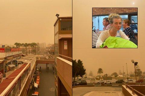 Therese Gjelseth (25) hennes to små barn, og resten av familien er fortsatt sandfaste på Gran Canaria. Hun slakter informasjonsflyten fra reiseselskapet TUI.  Foto: Privat