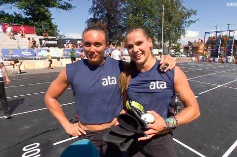 NM-VINNERE: Matilde Garnes (t.v.) og Ingrid Hodnemyr ble norgesmestre i functional fitness. De vant sjette og siste test lørdag og knepent sammenlagt.