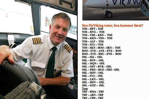 NYE RUTER: Ola O. K. Giæver avslører nå hvilke ruter FlyViking planlegger. Listen la han ut på Facebook med spørsmål om hvilke ruter folk syntes burde komme først. (Foto: Arkiv/skjermdump Facebbok/Ola Giæver)