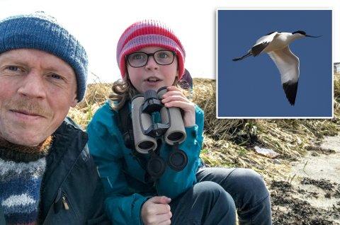 SJELDENT SYN: Tormod Amundsen og datteren Lila fikk øye på det han beskriver som en svært unik fugl i Vardø.