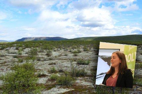 UFORSTÅELIG: Mia Larsen forstår ikke hvorfor kommunen har valgt dette området når de skulle etablere nytt boligfelt i Tana. Hun påpeker at det finnes mange mer attraktive områder i kommunen.