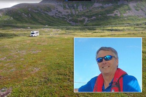 VILLE HA CAMPINGPLASS HER: Roy Bårdsen søkte Hasvik kommune om å opprette campingplass på eiendommen sin. Det ble vanskeligere enn tenkt.