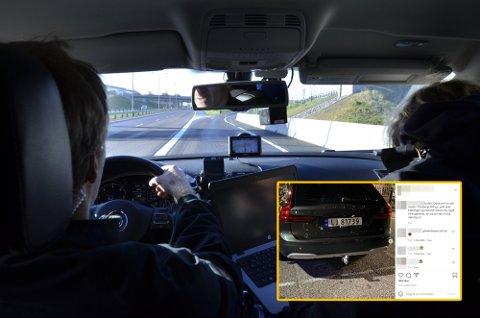 EKSPONERT: Politiets nye sivile patruljebil ble i helgen eksponert på Instagram-profilen til et miljø i Tønsberg.