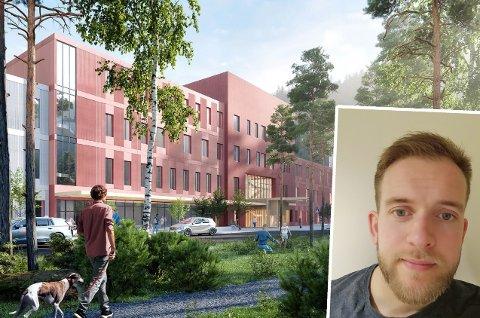 NYTT SYKEHUS: Even Ananiassen (29) fra Bjørnevatn har en svært sentral rolle i byggingen av det nye universitetssykehuset i Narvik, som kan sees på skissetegningen.