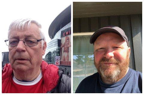 REAGERER: Tormod Lingeberg (t.v.) og Frode Møller har til sammen fulgt favorittklubbene i England i 100 år. Om den planlagte Superligaen blir en realitet vil lojaliteten få seg en knekk.