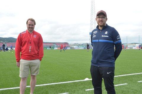 Johan Sjøbakk Lund og Martin Sørensen har hatt et godt samarbeid under kursingen til UEFA b-lisens som ble avholdt på Moan.