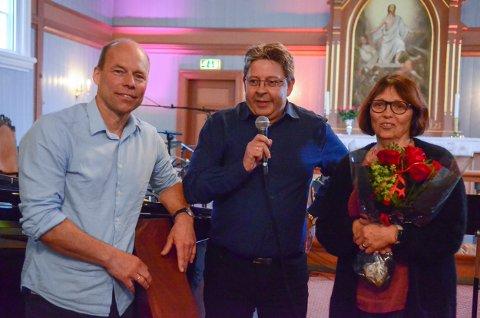Kasserer Ole Jørgen Kolstad, orgelkomiteleder Rune Natrud og initiativtaker Anne May Solli ønsker velkommen til ny pipekonsert..