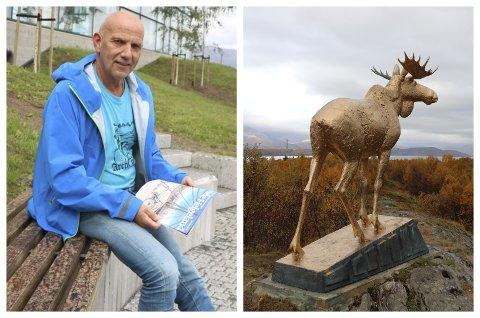 KULTURKONSULENT: Svein-Harald Carlsen er kulturkonsulent i Alstahaug kommune. Her avbildet i en reportasje fra 2016. Til høyre er bilde av elgstatuen, som i september ble lakkert i gullfarge.