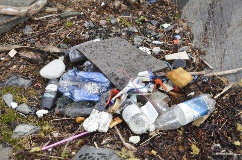 Plast og annet skrot samlet sammen i løpet av ti minutter på Lille Furuholmen. Arkivfoto: TROND NØSTVOLD TOU