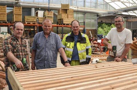 F.v.: Per Havn fra Delecto, Håvard Seland fra Delecto, Jens Gøtterup fra Miljø & støyskjerm og Kent Jøran Johannessen fra Delecto håper på mer samarbeid framover.
