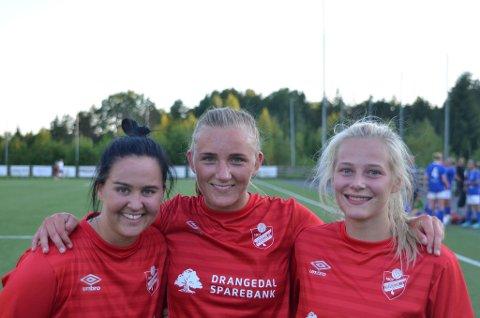Tre fornøyde målscorere: Heidi Tveit Vøllestad, Siri Nordbø og Gunhild Tellefsen Haugland.