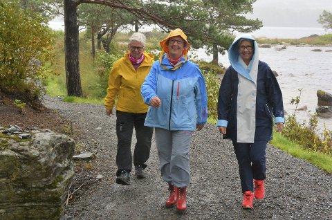 I GANG:  Kvar veke er desse tre damene, pluss to til, å treffa på ein eller annan tursti eller topp ein stad i verda. F.v. Anne Karin Helvik, Kari Sandvik Røssland og Britt Prestnes. Foto: Trude Aarsand