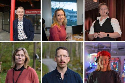Oppe f.v.: Idar Sundal Rangsæter, Silvia Tofte, Daniel Morso. Nede frå v.: Ragnhild Bjerkvik, Glenn A. Opland og Frida Nilsen. (Arkivfoto).