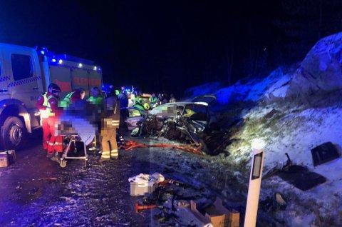 BIL MOT BUSS: To personer ble skadd i en ulykke på fylkesvei 40 mandag ettermiddag.