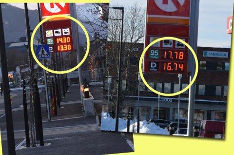 """""""Jo-jo-priser"""" på bensin og diesel i Lofoten. Montasje: Lofotposten."""
