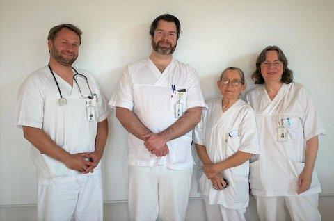De fire faste overlegene ved medisinsk avdeling på Gravdal: F.v. Sven Kindler, Robert Hammer, Vera Birgersdotter og Bettina Heermann.