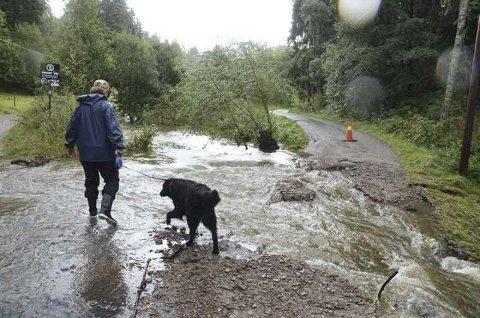Slik så det ut i Skulleruddumpa dagen etter det største nedbørsfallet i begynnelsen av september.