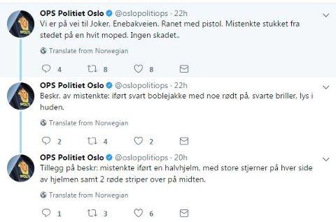 Slik twitret politiet om ranet på Klemetsrud torsdag kveld. Skjermdump fra Twitter/Politiets operasjonssentral