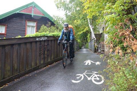 SYKLIST: Jan Thure Bolstad fra Prinsdal sykler jevnlig gang- og sykkelveien langs Mosseveien, og han ønsker alle tiltak som bedrer sikkerheten velkommen.