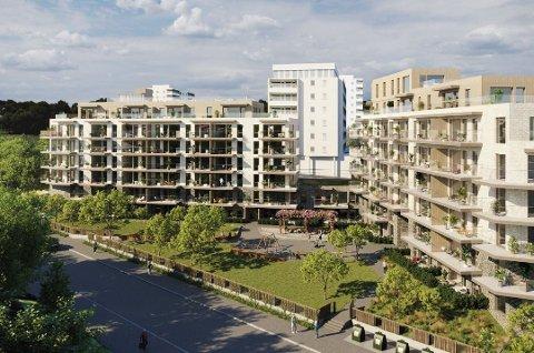 NYE BOLIGER: Slik kan 90 nye boliger i Låveveien se ut.