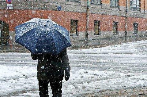 SLUDD: Nedbøren som kommer denne uken vil variere mellom regn og snø.