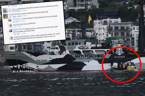 Sea Shepherd ankret opp i Tromsø i går kveld. Det gikk ikke upåaktet hen. Foto: Skjermdump/Torgrim Rath Olsen