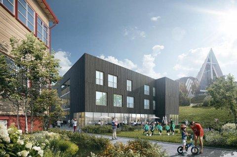 BYGGESTART I MARS: Slik ser HRTB Arkitekter for seg et av byggene i nye Otium i Tromsdalen med plass til 137 beboere. Nye Otium vil først stå ferdig i løpet av 2018.