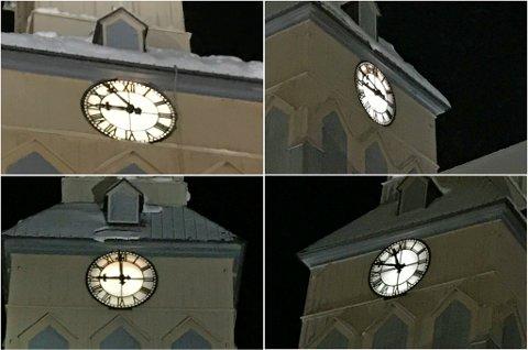 FINN TRE FEIL: Disse bildene fra kirketårnet i Tromsø Domkirke ble tatt samtidig klokken 20.50 torsdag kveld. Foto: Susanne Noreng